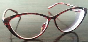 Red-Black marled thin frame cat eyeglasses