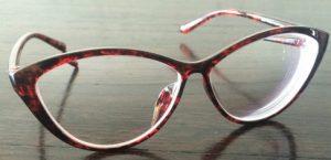 Red-Black marled thin frame cat eyeglasses