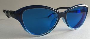 Cat prescription eyeglasses with blue tint