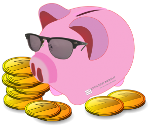 Piggy bank with eyewearinsight.com glasses