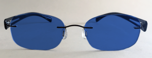 Rimless tinted blue